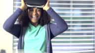 Mixed race girl with virtual reality headset