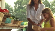 Mixed race mother and daughter examining produce at farm stand