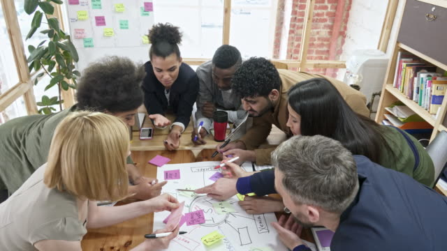 Mixed-raced business group planning start-up project