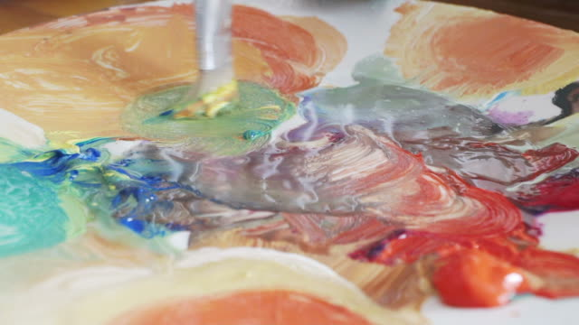 Mixing the paint in slow motion.