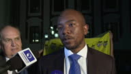 Mmusi Maimane leader of the Democratic Alliance saying the opposition will 'continue this fight' after South African President Jacob Zuma narrowly...