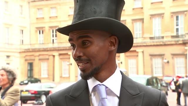 London Buckingham Palace EXT Sir Mo Farah interview SOT