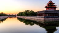 Moat and the imperial palace in Beijing,China.Timelapse.