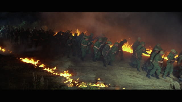 WS Mob of soldiers running through heavy explosions and fire