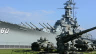 Mobile Alabama Battleship USS Alabama  from World War II with tank at the Battleship Memorial Park