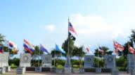 Mobile Alabama Korean Memorial Vickery's Bridge international  flags at museum and memorial