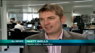 News of the World Royal Editor charged INT Matt Wells interview SOT Describes anecdotal evidence that it is common for tabloid journalists to use...