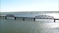 Mobridge Railway Bridge  - Aerial View - South Dakota, Walworth County, United States