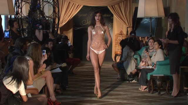 Model walks runway at the Agent Provocateur Lingerie Show at the Agent Provocateur Soir_e Fashion Show Runway and Backstage at New York NY