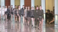 Models and designer Anthony Vaccarello on the runway for the Anthony Vaccarello Spring Summer 2016 Fashion Show in Paris Tuesday 29 September 2015...