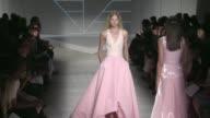 Models and designer Pamela Rowland walking the Pamella Roland Spring Summer 2016 Fashion Show in New York City on September 11 2015 in Paris France
