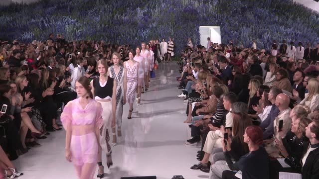 Models and designer Raf Simons on the runway for the Dior Spring Summer 2016 Fashion Show in Paris Friday 2nd October 2015 Paris France