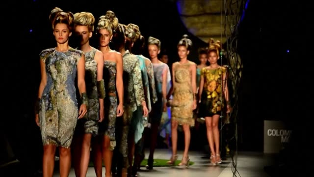 Models present creations by Colombian designers Francesca Miranda and Manuela Alvarez in Medellin during Colombia Fashion Week CLEAN Models present...