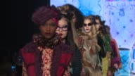 Models walk the runway at Anna Sui February 2017 New York Fashion Week at Skylight Clarkson Sq on February 15 2017 in New York City