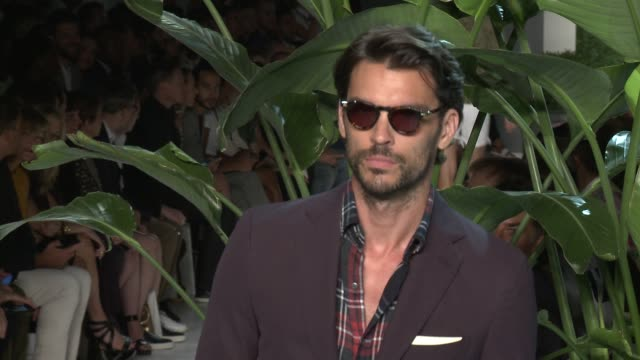 Models walk the runway at Michael Bastian S/S 2016 NYFW Mens Runway Show at Skylight Clarkson Sq on July 15 2015 in New York City