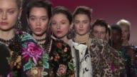 Models walk the runway at Naeem Khan February 2017 New York Fashion Week at Skylight Clarkson Sq on February 14 2017 in New York City