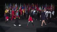 Models walk the runway at Opening Ceremony Runway September 2016 New York Fashion Week at Jacob Javitz Center on September 11 2016 in New York City