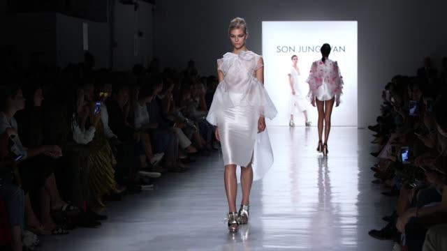 Models walk the runway at Son Jung Wan Runway September 2017 New York Fashion Week at Skylight Clarkson Sq on September 09 2017 in New York City