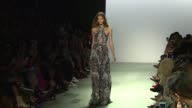 Models walk the runway at Tadashi Shoji Runway September 2017 New York Fashion Week The Shows at Skylight Clarkson Sq on September 07 2017 in New...