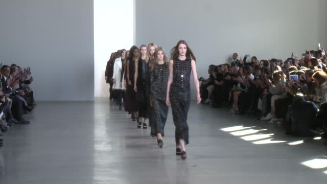 Models walk the runway during Calvin Klein Fall 2015 MercedesBenz Fashion Week at TBD on February 19 2015 in New York City
