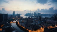 modern cityscape and skyline of Shanghai during sunrise,timelapse