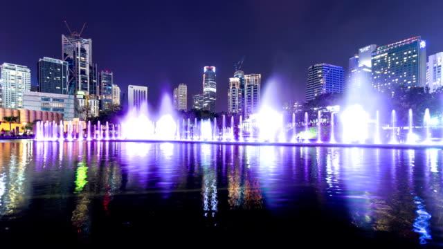 modern cityscape of Kuala Lumpur at night,timelapse