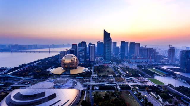 modern cityscape,skyline of hangzhou from day to night, timelapse.