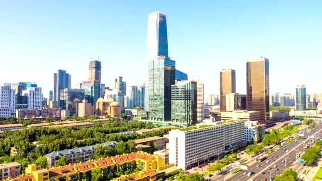modern cityscape,traffic and skyline of Beijing, timelapse.