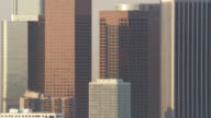 LS PAN CU modern office skyscrapers in downtown Los Angeles, RED R3D 4K, 4K, 4KMSTR
