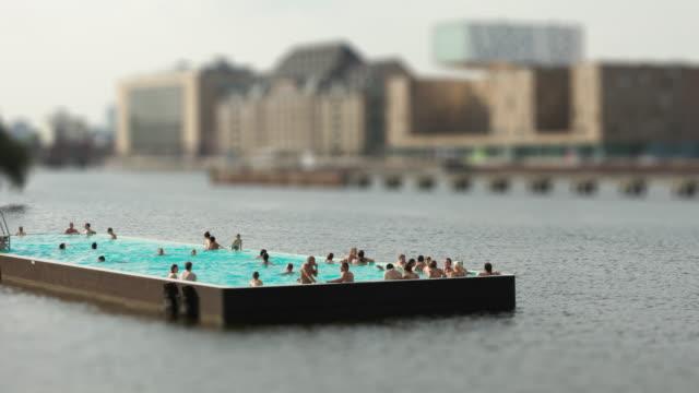 Modern Public Swimming Pool in Berlin Spree River with Tilt Shift Look Timelapse