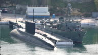 modern Russian submarine at the dock