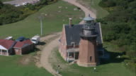 AERIAL Mohegan Bluffs lighthouse on the Atlantic Ocean / Block Island, Rhode Island, United States