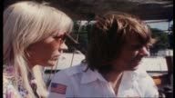 """Molly Meldrum continues interview with ABBA on board tall ship """"Agnes Stockholm"""" as they sail around Stockholm Harbor re winning the Eurovision song..."""