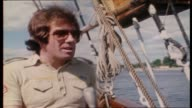 """Molly Meldrum continues to interview ABBA on board tall ship """"Agnes Stockholm"""" as they sail around Stockholm Harbor re first time using the name/..."""