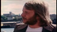 """Molly Meldrum continues to interview ABBA on board tall ship """"Agnes Stockholm"""" as they sail around Stockholm Harbor re formation of the band"""
