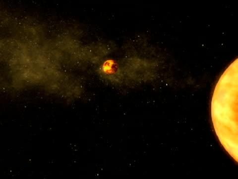 Molten moon orbiting.