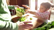 Mom and Daughter Making Healthy Food