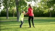 Mom swings son