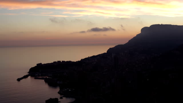 Monaco (Monte Carlo) aerial view night timelapse
