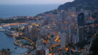 Monaco harbour at twilight.