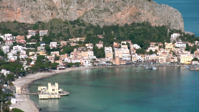 Mondello seen from Mount Pellegrino, Sicily Italy.
