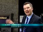 Bank of England call for banks to circulate five pound notes London EXT Reporter to camera at cash machine