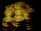 Money - one pound coins stacked in 7 piles gradually decrease to nothing, black background
