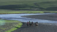 Mongolia : Herds of horses next to the winding streams