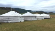 Mongolian yurts with steaming chimneys at Orkhon Valley Cultural Landscape in Mongolia