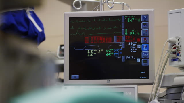 EKG monitor during a surgical procedure in a hospital operating room with gowned anesthesiologist standing nearby.