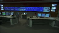 Monitors display information in a control room.