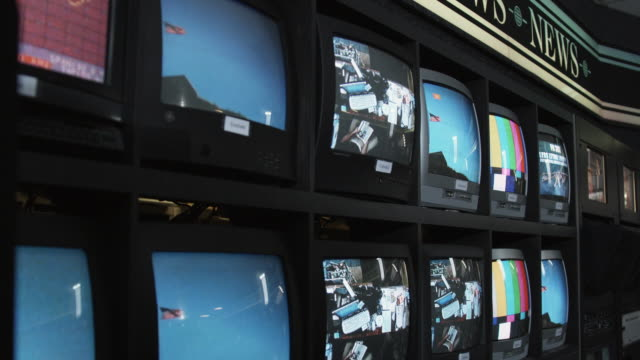 CU Monitors displaying footage and going black, Dallas, Texas, USA