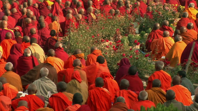 MS, PAN, Monks gathering at Mahabodhi Temple, rear view, Bodh Gaya, Bihar, India