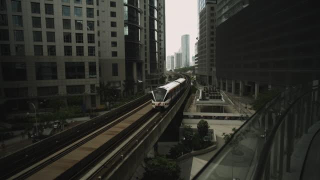 Monorail between inner city buildings.